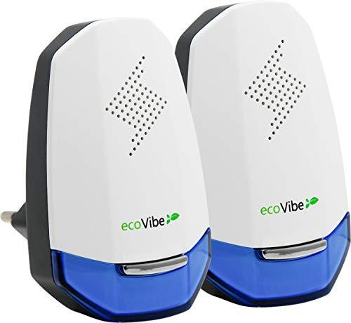ecoVibe | Ultrasuoni per Topi di 5ª Generazione; Repellente Ultrasuoni Repellente zanzare Topi Insetti cimici mosche scarafaggi formiche | Dissuasore Scaccia Topi e Insetti Eco-Efficiente [Pacco da 2]