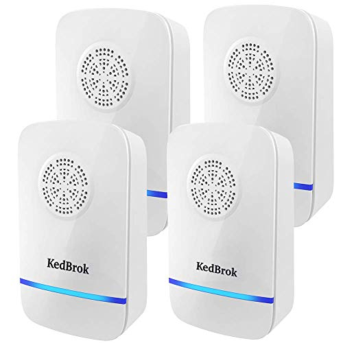KedBrok Antizanzare Ultrasuoni 4 Pack, Repellente ad Ultrasuoni Elettrico Ultrasuoni per Topi Dissuasore Anti Zanzare, Topi, Insetti, Ratti, Roach, Ragni, Formica, Flea, Roditori