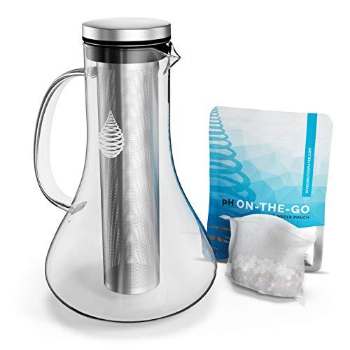 pH REPLENISH - caraffa filtrante in vetro per acqua alcalina e ionizzata - elimina cloro, impurità e metalli pesanti - aumenta il pH - con filtro a lunga durata - 1,8 litri
