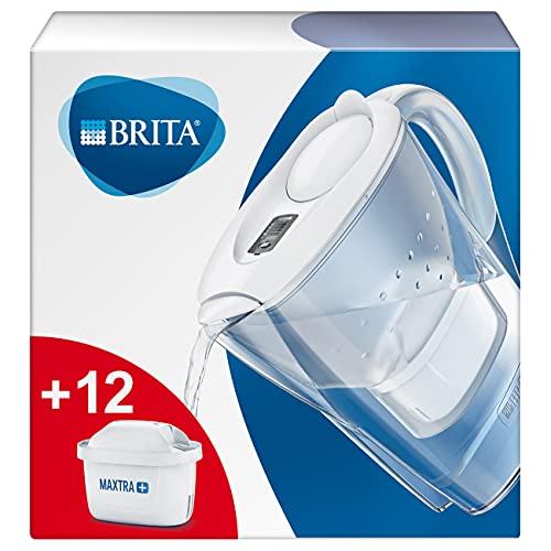 Brita Marella Caraffa Filtrante per Acqua Kit 12 Filtri Maxtra Inclusi, 2.4L