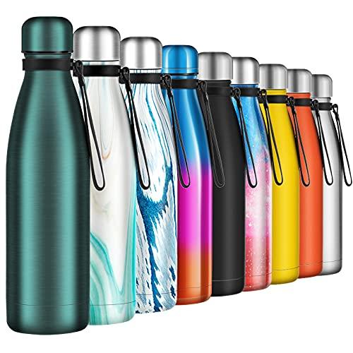 Borraccia Termica 500ml, Senza BPA, Bottiglia Acqua in Acciaio Inox Sottovuoto a Doppia Parete, per Campeggio di Sport Esterni Escursionismo Escursioni in Bicicletta, Blu Opaco