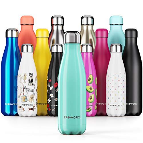 Proworks Bottiglia Acqua in Acciaio Inox, Senza BPA Vuoto Isolato Borraccia Termica in Metallo per Bevande Calde per 12 Ore & Fredde 24 Ore, Borraccia per Sport e Palestra - 1.5 Litre - Verde