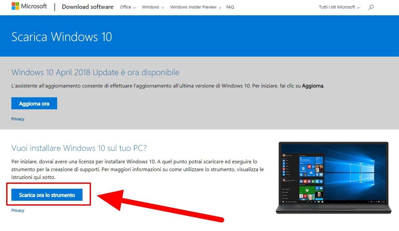 scarica lo strumento per aggiornare a windows 10